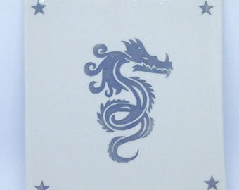 Large Grey Dragon Art Tile handmade hand made OHIO USA tattoo ceramic pottery