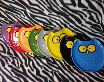 Silly Owl Plate Handmade Hand Made OHIO USA Pottery Ceramics Tattoo