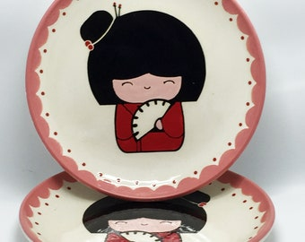 Set of 2 Lunch Plates Pretty Geisha Kokeshi Doll handmade hand made OHIO USA ceramic pottery