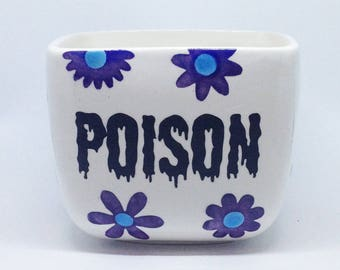 Square Floral Poison Coffee Mug Cup Ceramic Pottery OHIO USA Handmade Hand Made tattoo