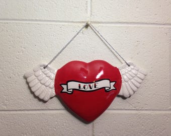Tattoo Love Heart With Wings Wall Art Hanging handmade hand made OHIO USA tattoo ceramic pottery winged goth
