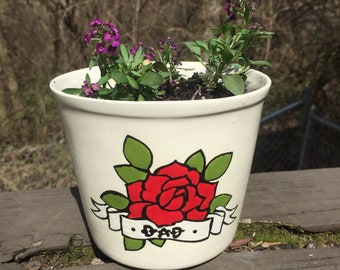 Fathers Day Dad flower pot planter plant with Purple Alyssum flowers ceramic handmade Columbus Ohio fathers day