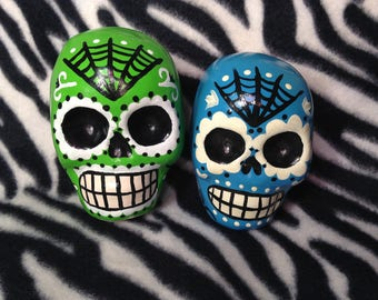 Large Blue or Green Day of the Dead Sugar Skull Statue Handmade Hand Made OHIO USA Ceramic Pottery Tattoo