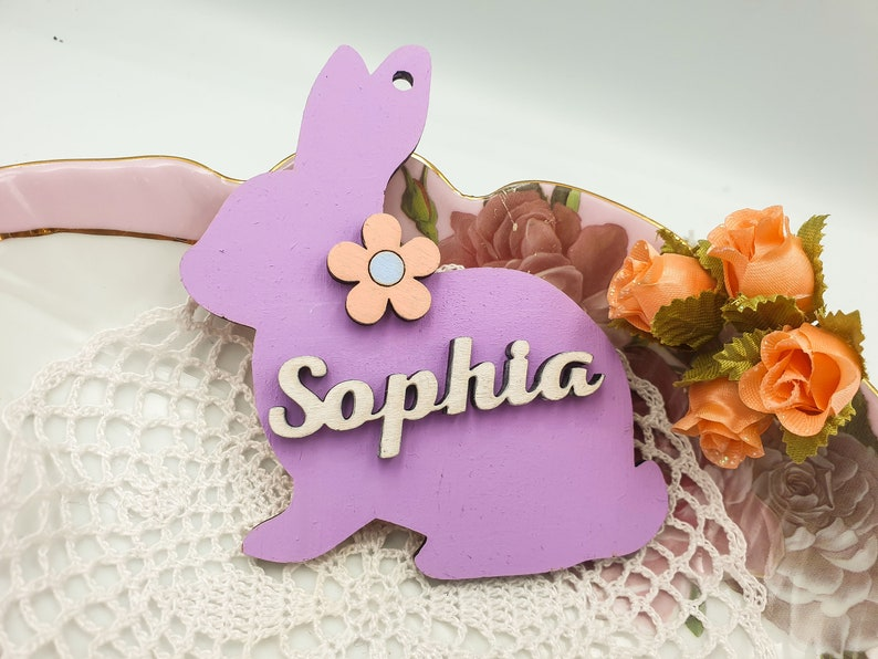 Spring Wood Rabbit easter table Decor Happy Easter Bunny Basket Tag Filler personalized baby gift Place Card Name Tag Name Sign Charm
