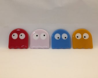 Fused glass Pac-Man ghost coasters - pac man Blinky, Pinky, Inky and Clyde