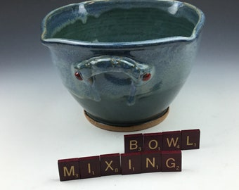 Pottery Ceramic Handmade Squared Mixing Bowl Serving Bowl in Green Blue holds 5 Cups