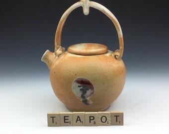 Ceramic pottery handmade kettle pot jug teapot in orange and white holds 24 fluid ounces
