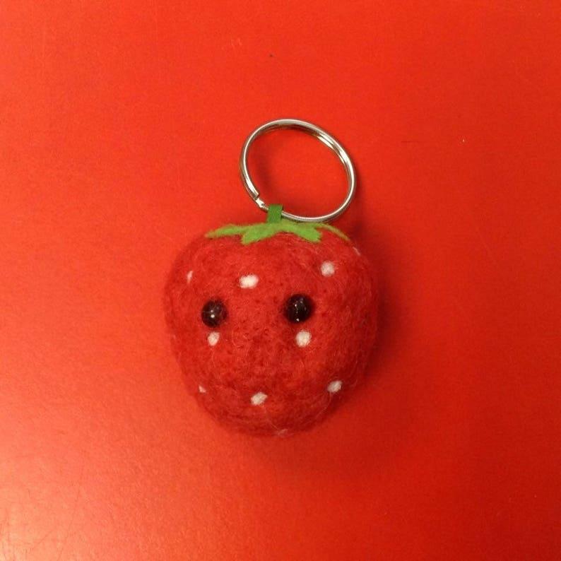 Strawberry Needle  Felted keyring  keychain  bag charm handmade from British Shetland wool and Merino wool