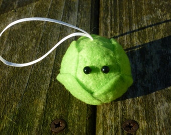 Brussel Sprout Bauble Needle Felted Christmas Decoration handmade from British Shetland wool