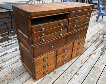 Ordinaire Antique Shaw Walker Oak Apothecary File Chest, Cabinet As Found 4 Sections  Of Drawers