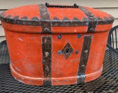 Antique 18th Century Swedish Iron Strap Coffer, Chest, with Bold Red Paint