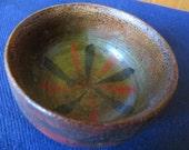 Early Hand Turned Painted Wood Treenware Folk Art Bowl