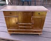 Unusual Antique Primitive Salesman Sample Drop Front Multi Drawer Cupboard