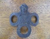 Weird Antique Architectural Salvage Iron Clover Figure