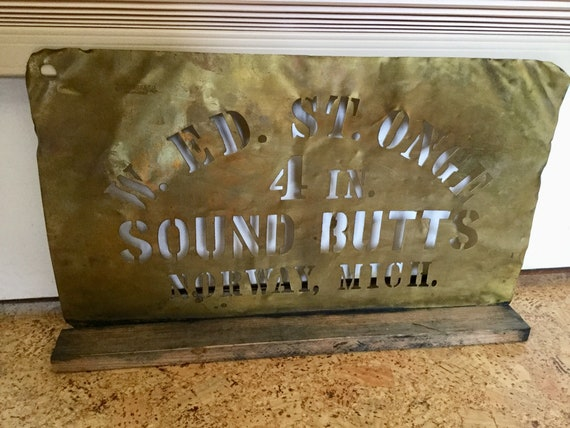 Sound Butts, Norway, Antique Brass Stencil, 1890's Industrial Salvage by Etsy