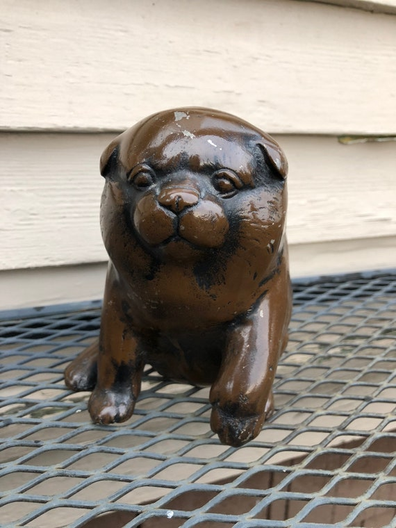 Unusual Heavy Bronzed Metal Chow Chow Dog Sculpture