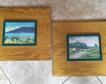 Vintage Mid Century Oil Paintings on Board, G.Wood, pair, Landscapes