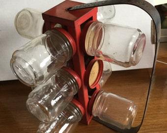 Vintage Mid Century Hanging Jar Rotating Storage Rack