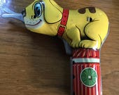 Vintage Tin Toy Cut Up Puppy, Dog on Hydrant Battery Op Scissors