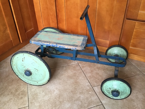 Antique 1920 Irish Mail Cart Pedal Car Original Paint Gear Etsy