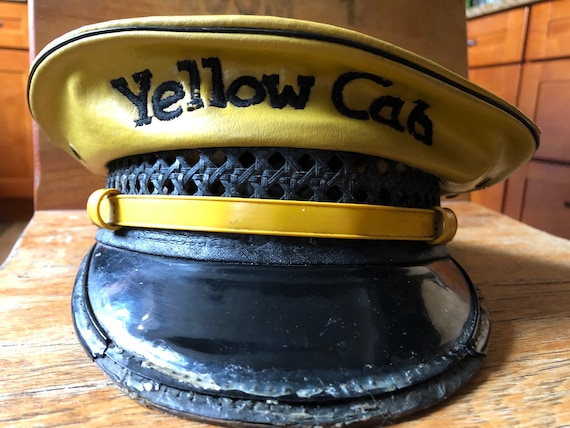 Antique Leather Yellow Cab Taxi Driver Uniform Cap