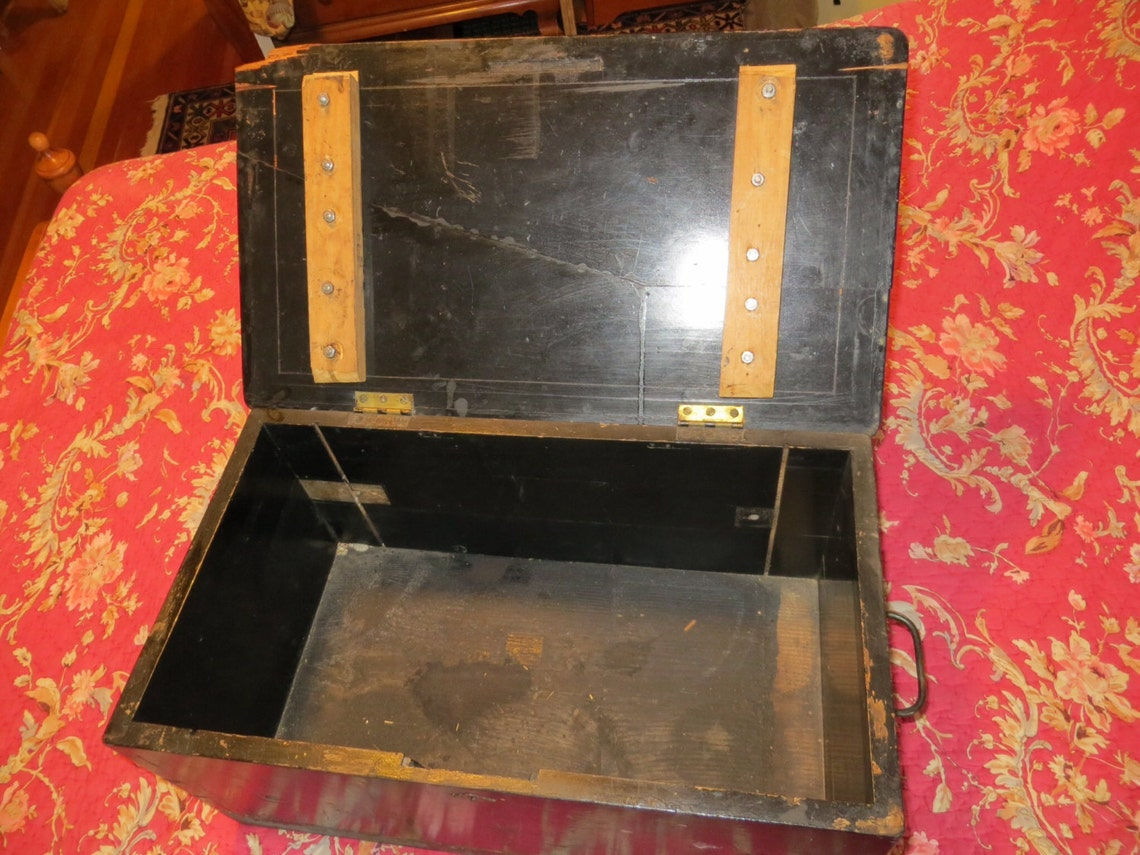 Gorgeous Primitive Early Victorian Trunk, Old music box