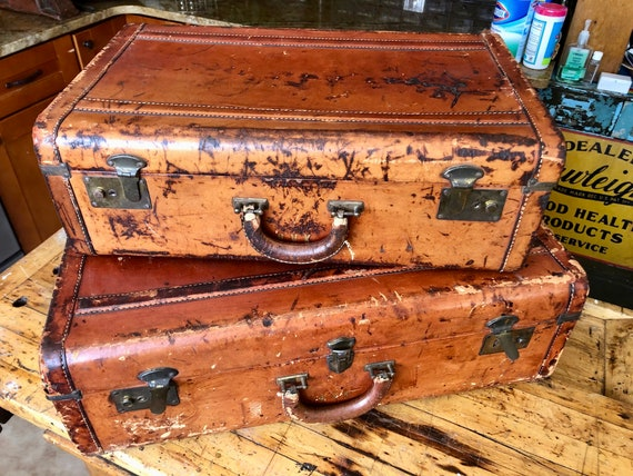 Vintage Saddle Leather Suitcase Set