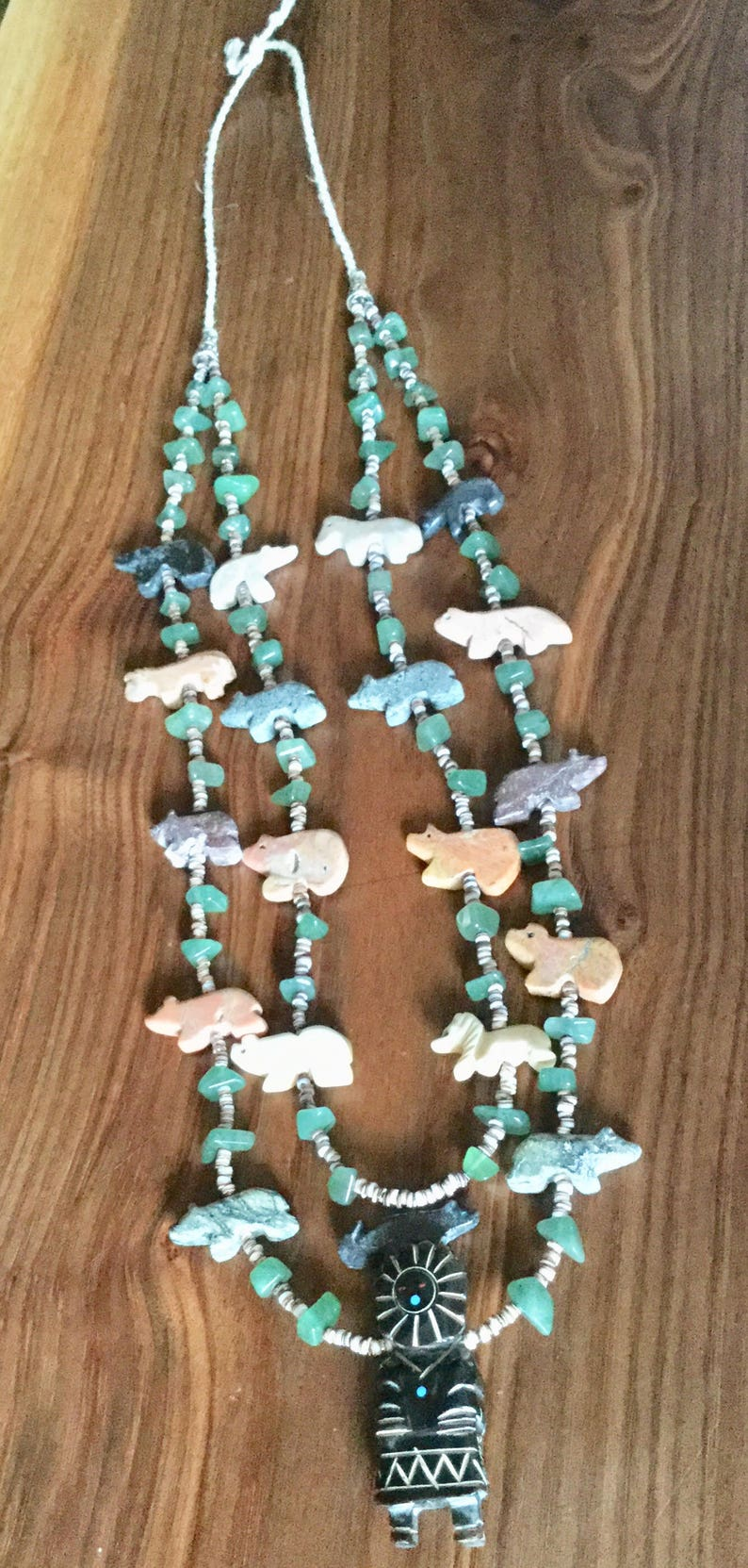 Horses Bears Beautiful Vintage Old Pawn Zuni Fetish Necklace Featuring a Kachina Dancer