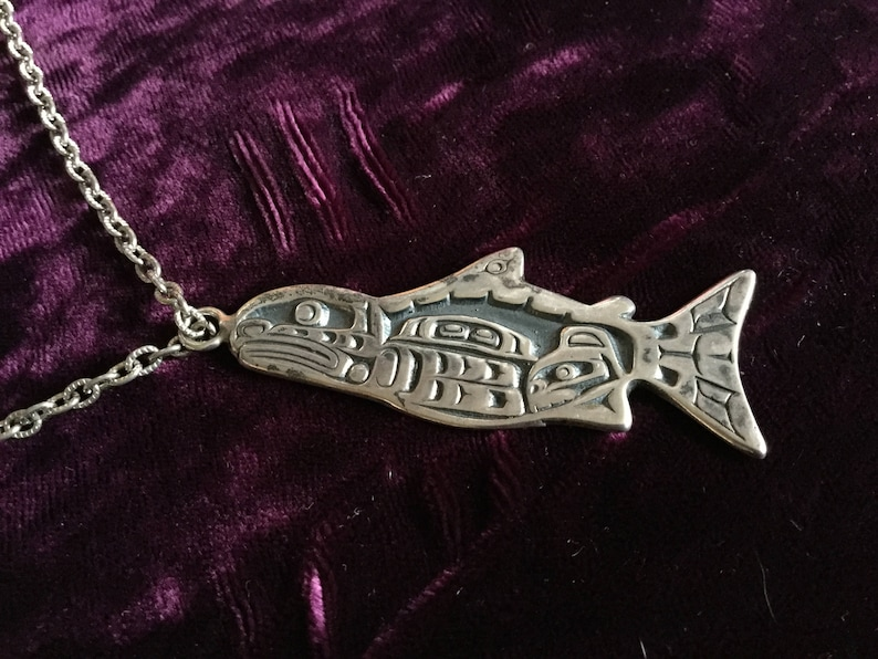 Heavy Native Pacific NW Haida Whale and Baby Whale Sterling Silver Pendant