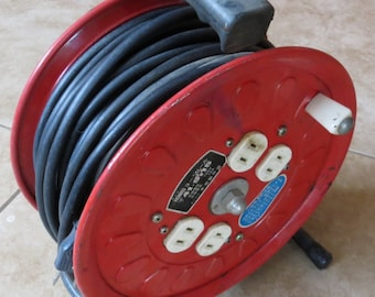 Japanese Industrial Modern Vintage North American Fire Engine Red Extension cord Reel