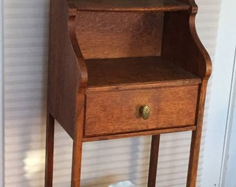 Antique 1920's  Quartersawn Oak Shaving Stand with Original Mirror, Divided Drawer, Two Tier