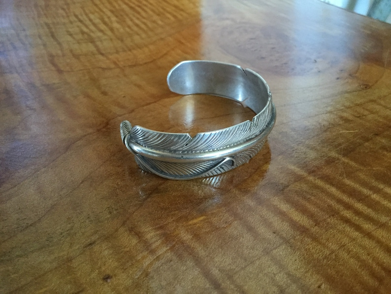 Cool Navajo Old Pawn Sterling Silver Feather Bracelet by Stan Charley