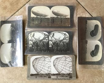 5 Antique WWI Stereoscope Cards, WWI Zeppelin, Dirigible, Blimp, Air Ship Photos