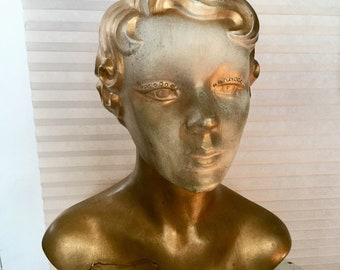 Vintage 1940's Composition Lady Head Store Display Counter Top Mannequin Hat Stand