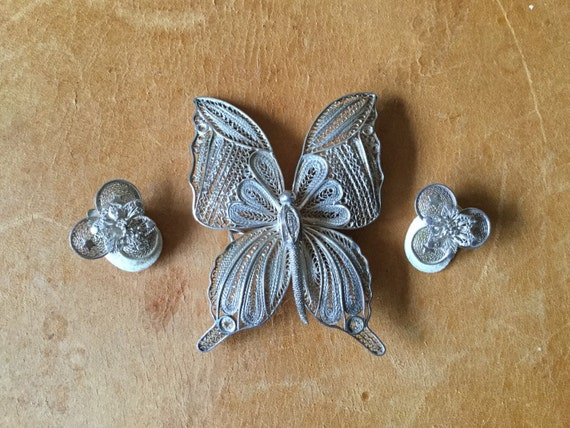 Stunning Huge Antique Sterling Filigree Butterfly