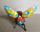 Linemar Japan Vintage Wind Up Flying Beetle Toy