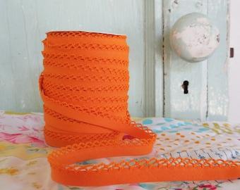 Orange Crochet Edge Double Fold Bias Tape (No. 35)