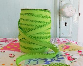 Lime Green Crochet Edge Double Fold Bias  Tape (No. 38)