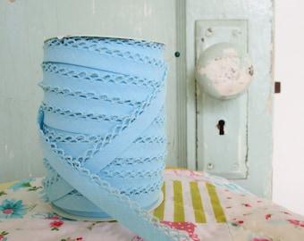 Baby Blue Crochet Edge Double Fold Bias  Tape (No. 46)