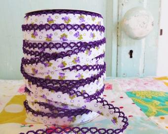 Grape Floral Crochet Edge Double Fold Bias Tape  (No. 70). Crochet Bias Tape.  Crochet Edge Bias.  Craft Supplies.  Quilt Supplies. Fabric.