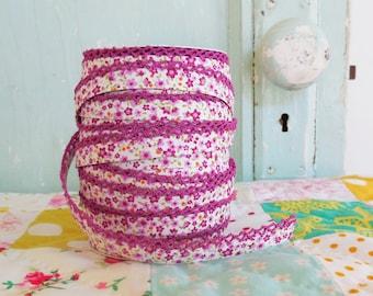 Purple Violet Floral with Purple Violet Crochet Edge Double Fold Bias Tape  (No. 71). Purple Fabric.  Purple Floral.  Purple Calico Floral.