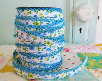 Turquoise Floral with Turquoise Crochet Edge Double Fold Bias  Tape (No. 68). Blue Floral.  Blue and Green.  Green Floral Fabric.  Blue Trim