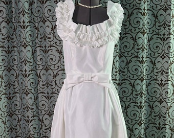 1970s Vintage Elegant Off-the-Shoulder Dress, Ruffles, Fitted Waist, Flounce Hem Sweep by House of Bianchi