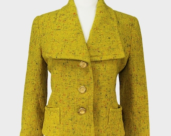 4fa35c851 Givenchy Paris Vintage 1990s Cropped Jacket Coat Yellow Speckled Wool Tweed  Spread Collar Design Givenchy Boutiques Designer France Large