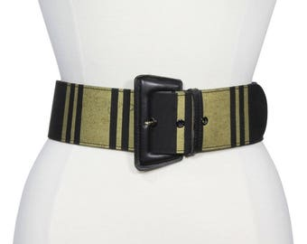 a561c33327c92 Paloma Picasso Vintage 1990s Wide Fashion Belt Black Gold Leather Stripe  Textile Textured Belt Upscale Italian Designer Belt Italy Medium