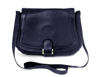 3b9f484209 Florilege Vintage 1970s Italian Saddle Bag Crossbody Handbag Purse Dark  Navy Blue Textured Leather Top Grain Leather Gold Hardware Italy