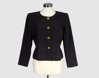 b2cd95f6125 Emmanuelle Khanh Paris Vintage 1980s Cropped Blazer Jacket Black Collarless  Bolero Designer Jacket Floral Applique France Medium