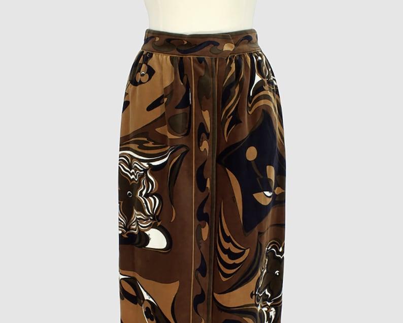 2b2c8a63fa Emilio Pucci Vintage 1960s Straight Maxi Wrap Skirt Brown   Etsy