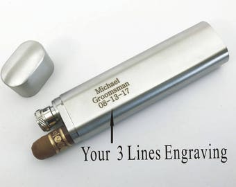 Personalized Engraved Custom Stainless Steel Cigar Case , Tube & Flask – Graduation , Retirement gift-Buy 6 or more get one for free