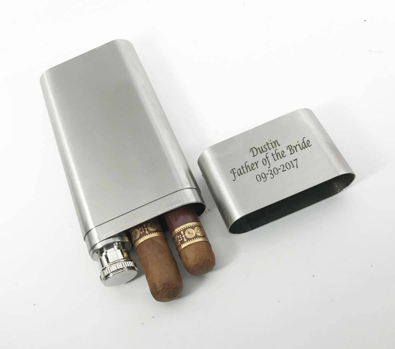 Holidays birthday gift-Personalized Engraved Custom Stainless Steel Cigar Case Christmas Tube /& Flask Father/'s day Anniversary
